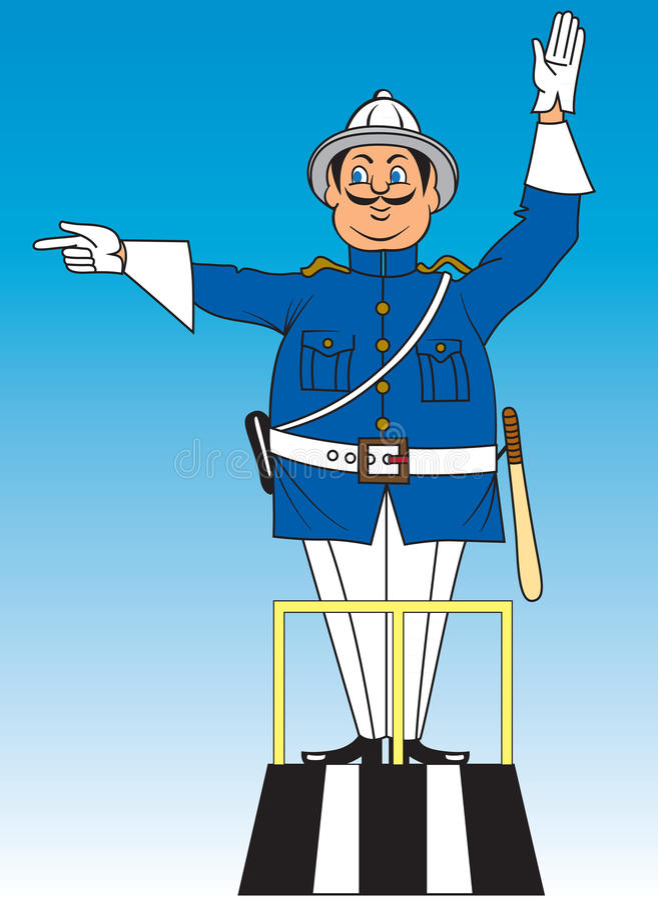 Cartoon traffic policeman stock image