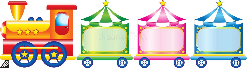 Cartoon train. Colorful cartoon train with three wagons vector illustration