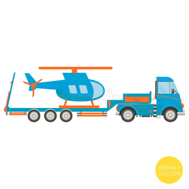 Cartoon transport. Lorry with helicopter illustration. View from side. Cartoon transport. Lorry with helicopter illustration. View from side stock illustration
