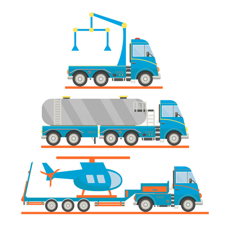 Cartoon transport set. Tow truck, tank car, lorry, helicopter. Vector illustration. Cartoon transport set. Tow truck, tank car, lorry, helicopter. Vector royalty free illustration