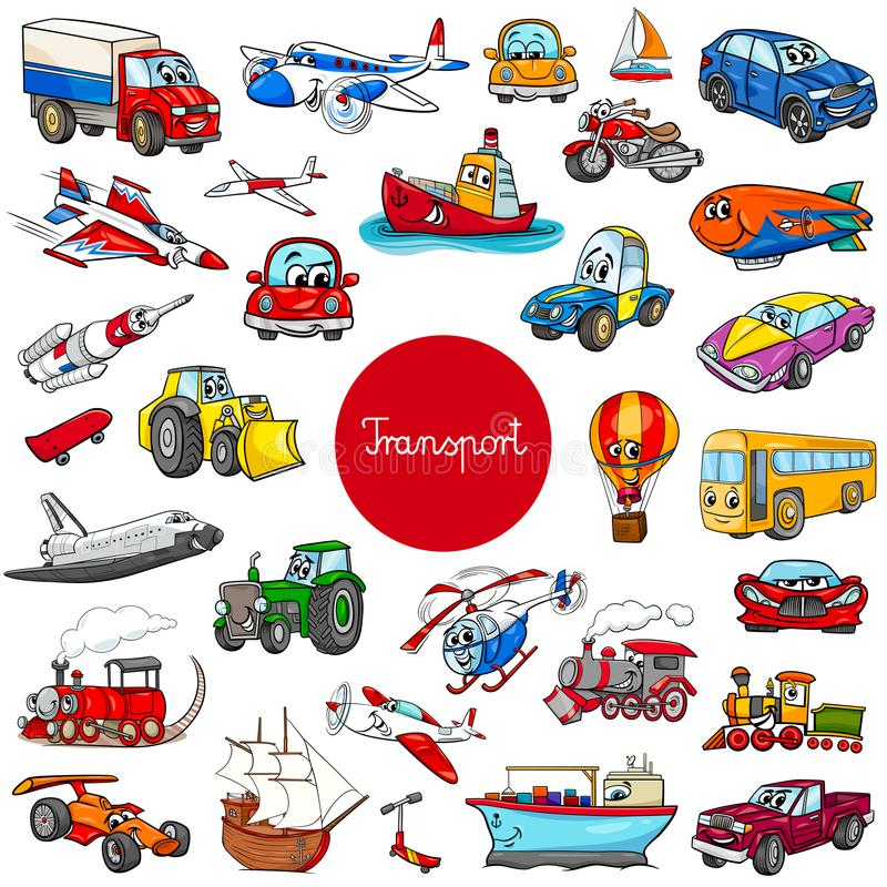 Cartoon transportation vehicle characters big set stock illustration