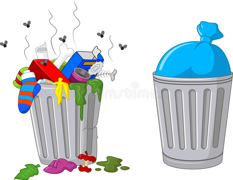 Cartoon trash can royalty free illustration