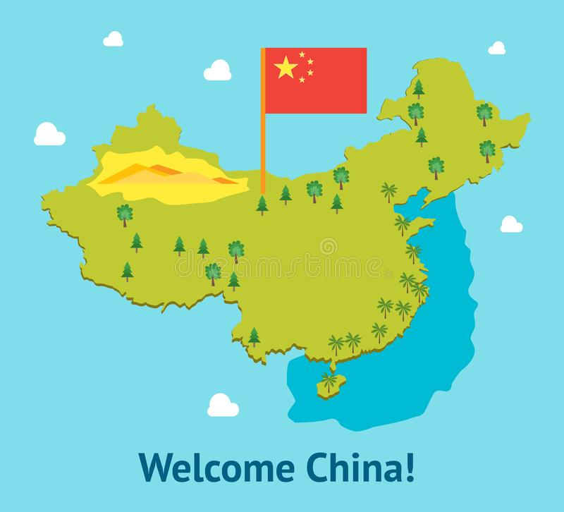 Cartoon Travel China Welcome Card Poster Tourism Concept. Vector stock illustration