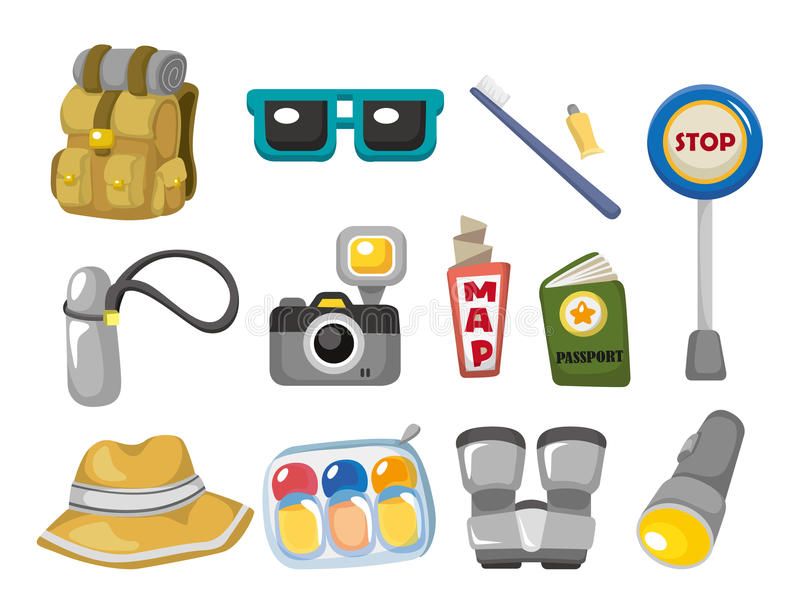 Cartoon travel icons set stock illustration
