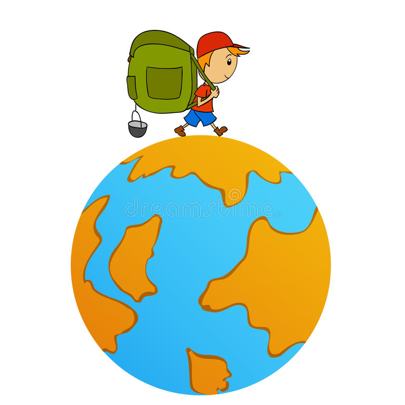 Cartoon Travel Man With Backpack Around World Royalty Free Stock Photo