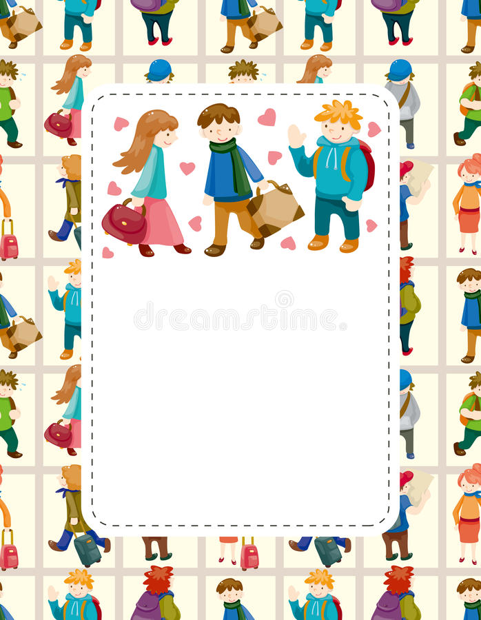 Cartoon travel people card stock illustration