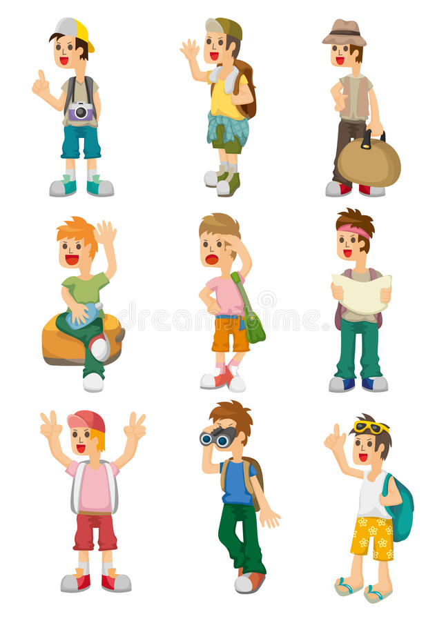 Cartoon Travel People Icons Set Stock Photography
