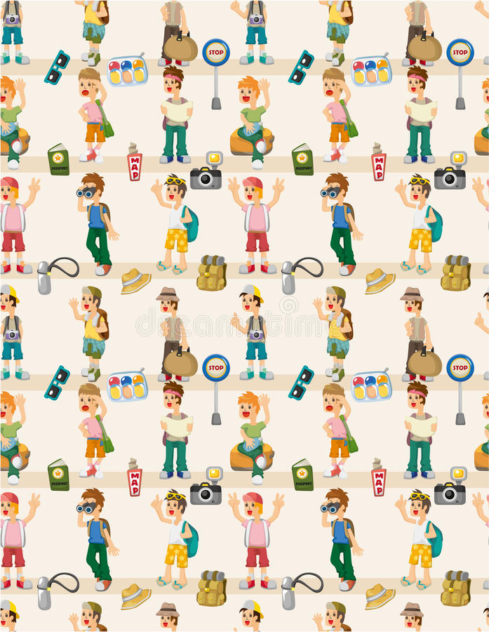 Cartoon travel people seamless pattern stock illustration