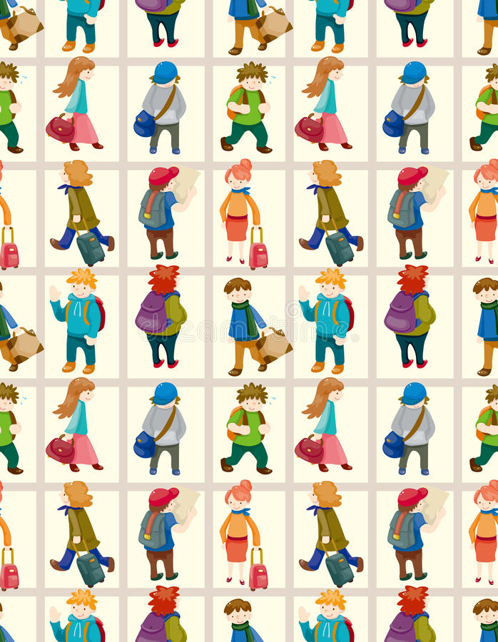 Cartoon travel people seamless pattern vector illustration