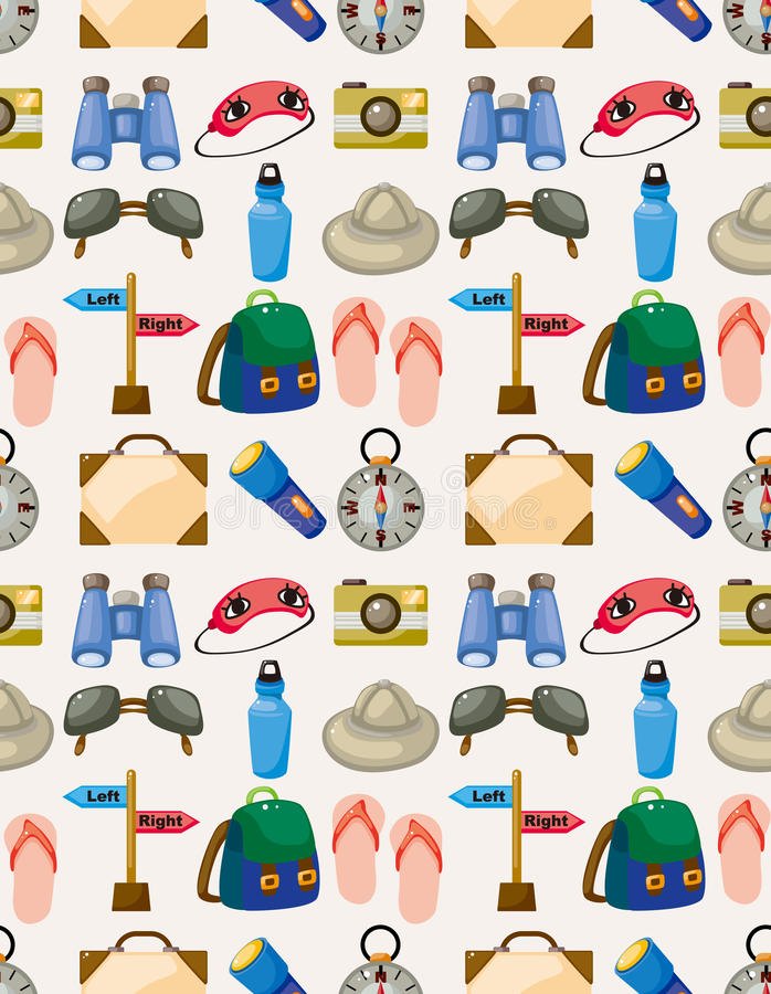 Cartoon travel seamless pattern royalty free illustration