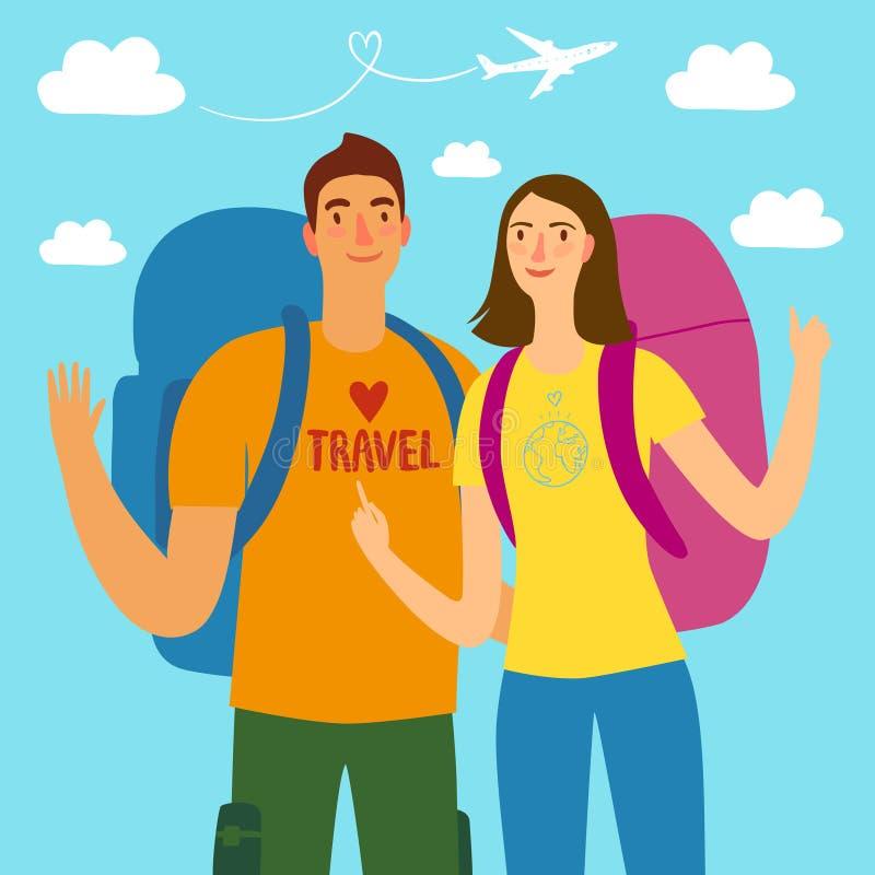 Cartoon travelers girl and boy royalty free illustration