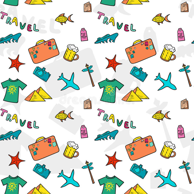 Cartoon travelling vector pattern. Summer seamless print. vector illustration