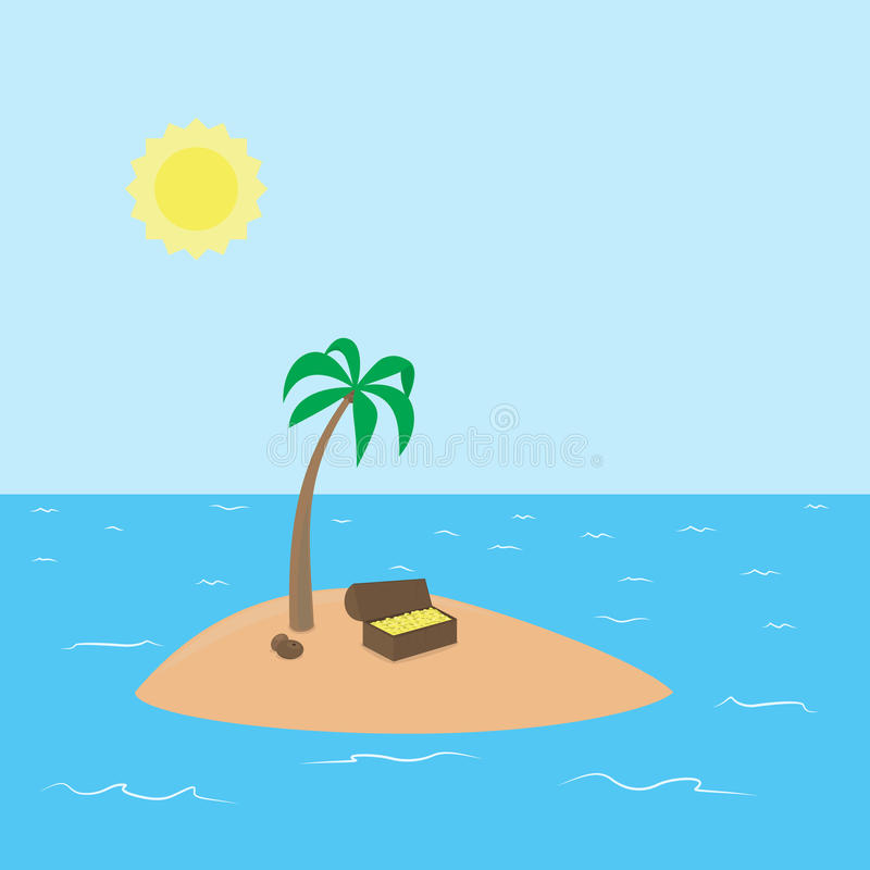 Treasure Island Beach: Cartoon Treasure Island With Palm, Chest Full Of Stock
