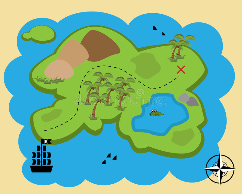 Cartoon treasure map. Illustration of a cute cartoon treasure map. EPS file available