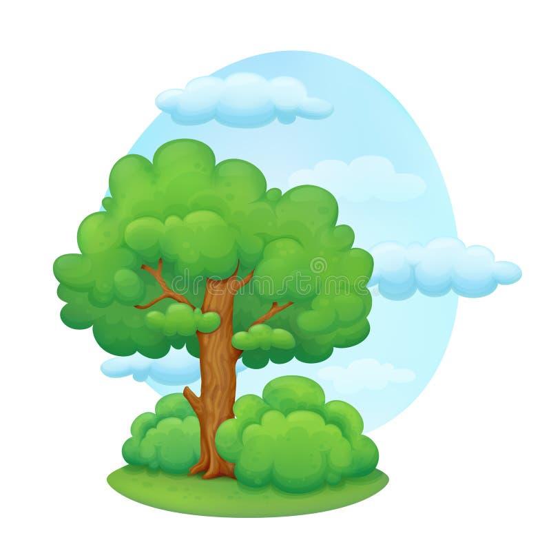 Cartoon tree with bushes stock illustration