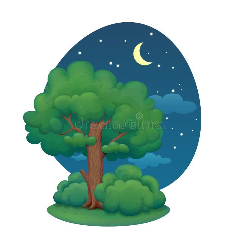Cartoon tree with bushes. Summer night. royalty free illustration