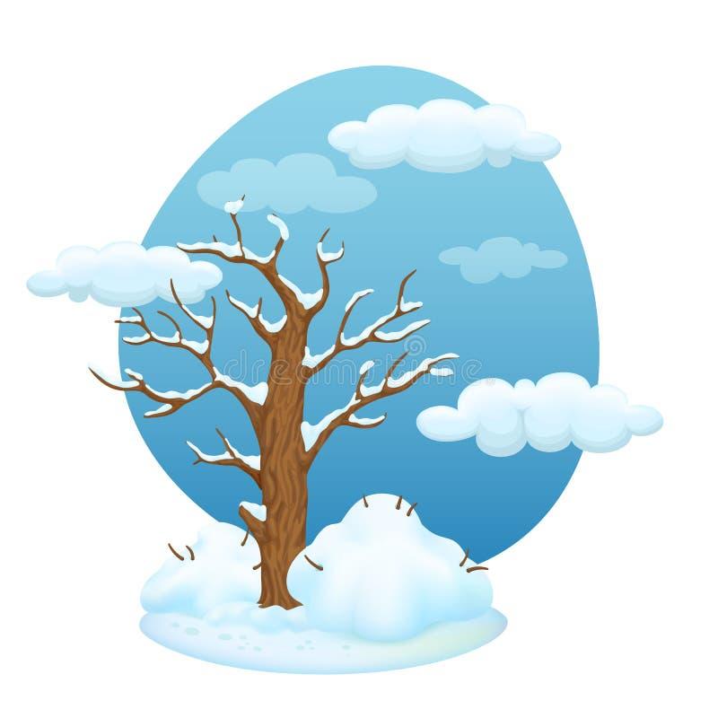 Cartoon tree with bushes. Winter scene. stock illustration
