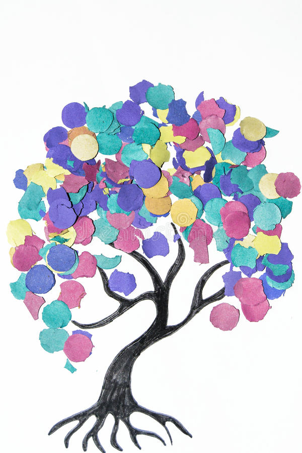 Cartoon tree with colorful confetti royalty free stock photos