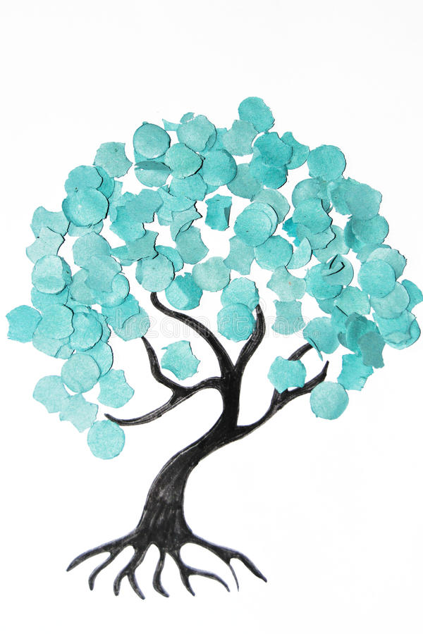 Cartoon tree with colorful confetti royalty free stock photo