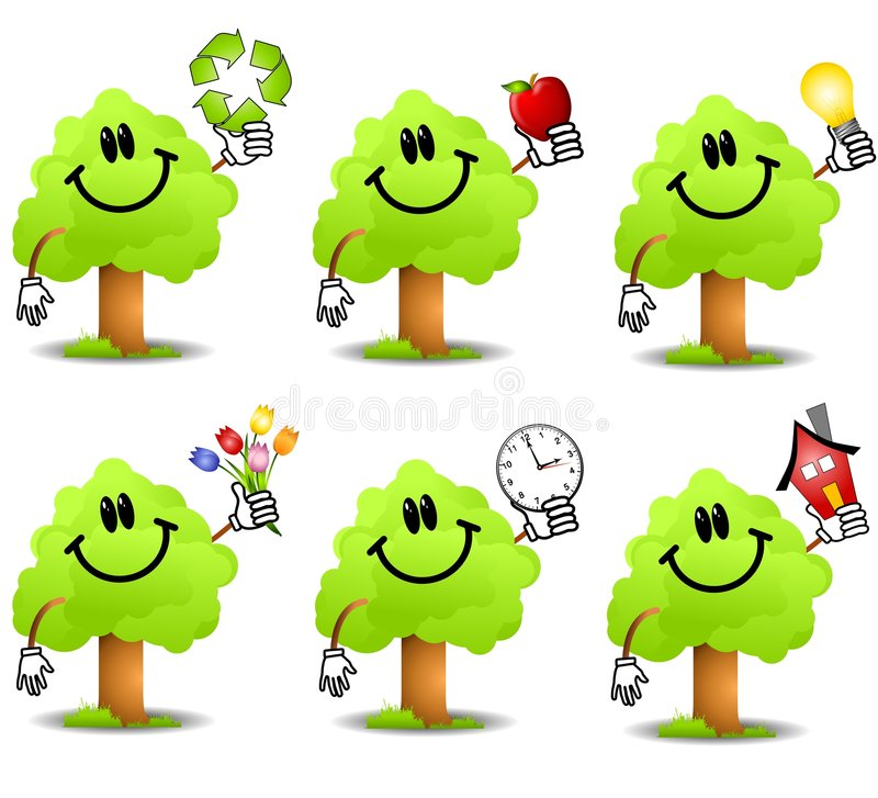 Cartoon Tree Holding Objects. An illustration featuring a collection of green trees holding various objects to represent different themes including recycling vector illustration