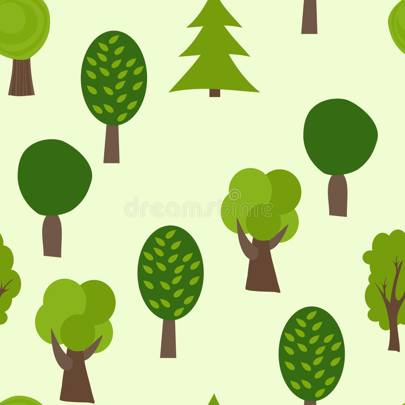 Cartoon Tree Seamless Pattern. Summer Vector Background. Forest Texture royalty free illustration