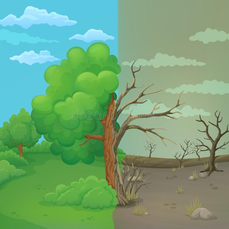 Cartoon tree split in half on a divided background. Healthy leaved part and dying part with cracked bark. stock illustration