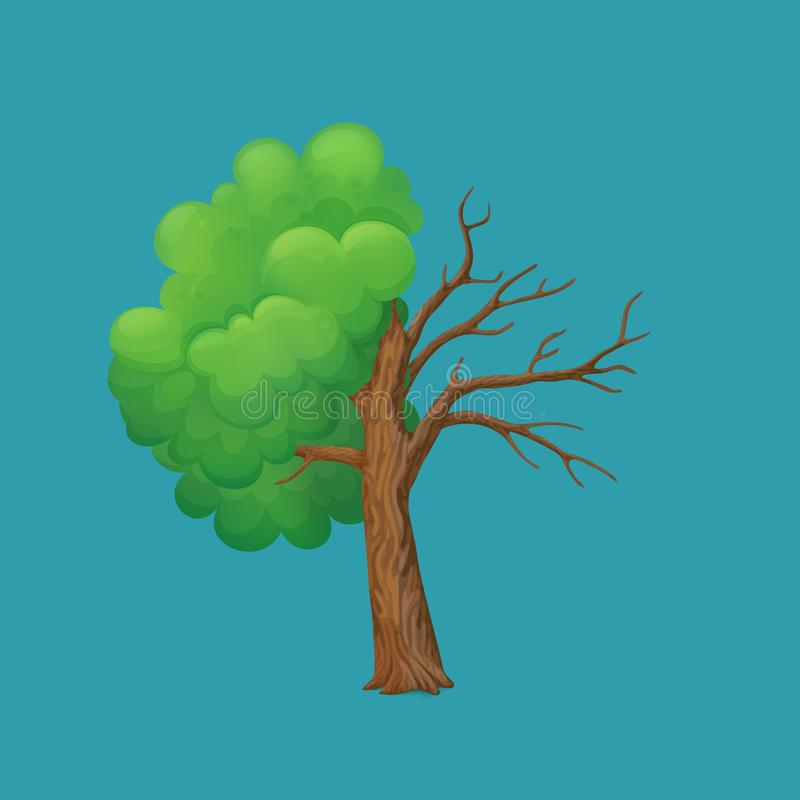 Cartoon tree split in half isolated on a blue background. Part with lush green leaves and dry, leafless part vector illustration