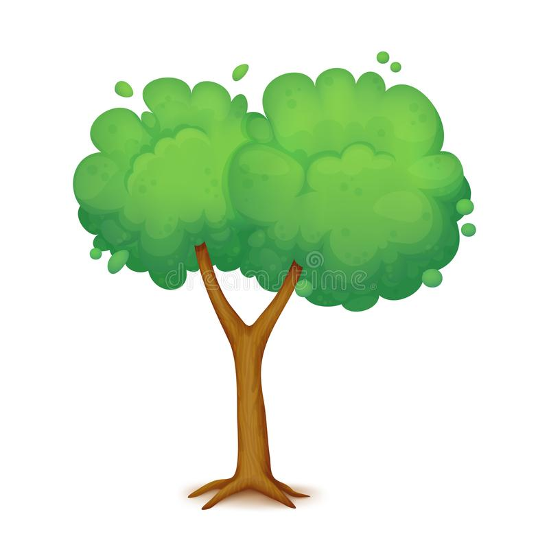Cartoon tree with two branches stock illustration