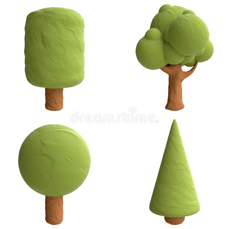 Free Cartoon Trees From Plasticine Or Clay Stock Photography - 51964102