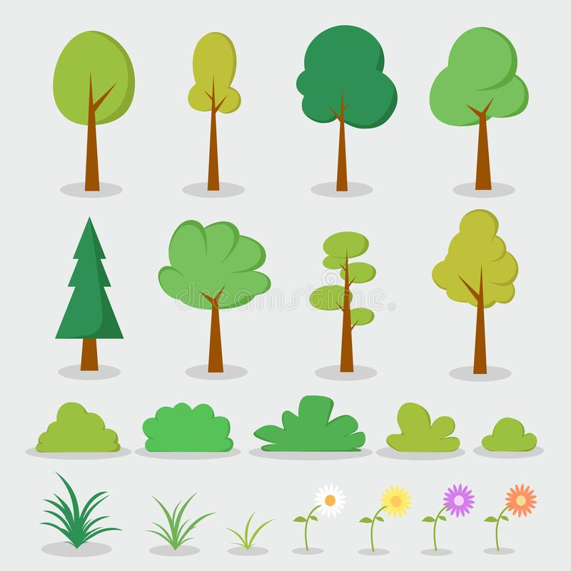 Cartoon Trees and plants set. Vector illustration collection vector illustration