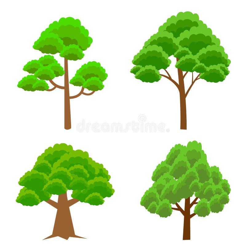 Cartoon trees set Vector illustration tree for game design or landscape nature in park. stock illustration