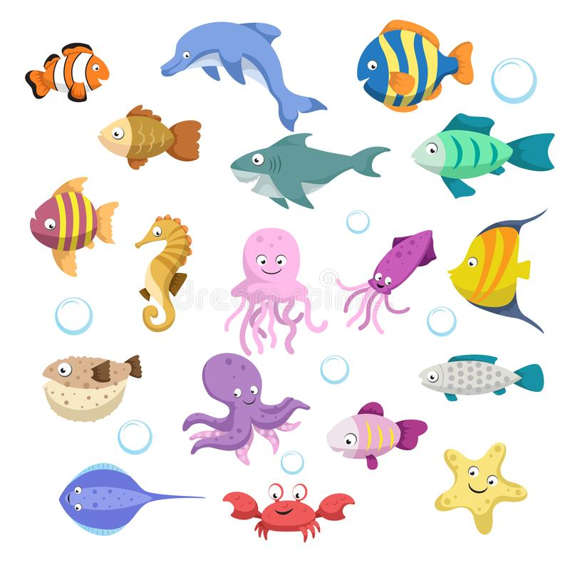 Cartoon trendy colorful reef animals big set. Fishes, mammal, crustaceans. Dolphin and shark, octopus, crab, starfish, jellyfish. Tropic reef coral wildlife stock illustration