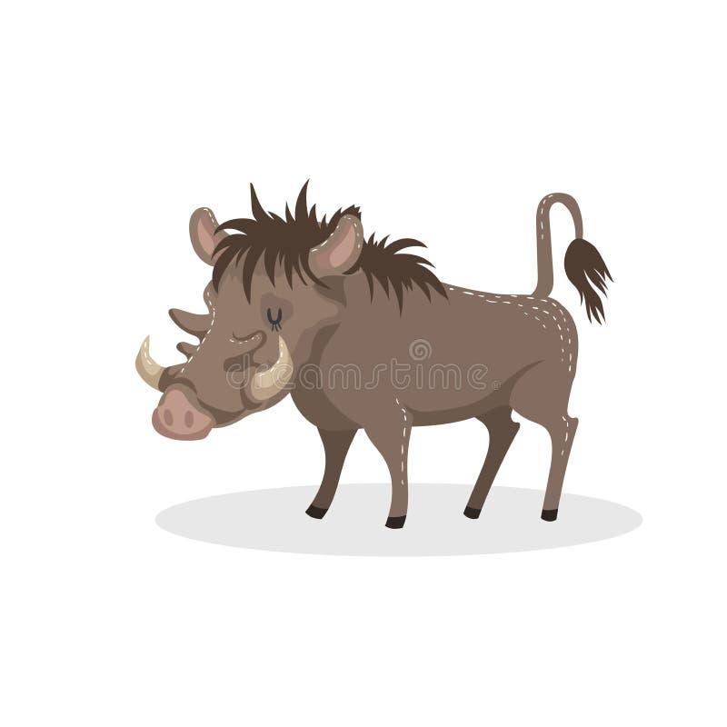 Cartoon trendy design african pig warthog. vector illustration
