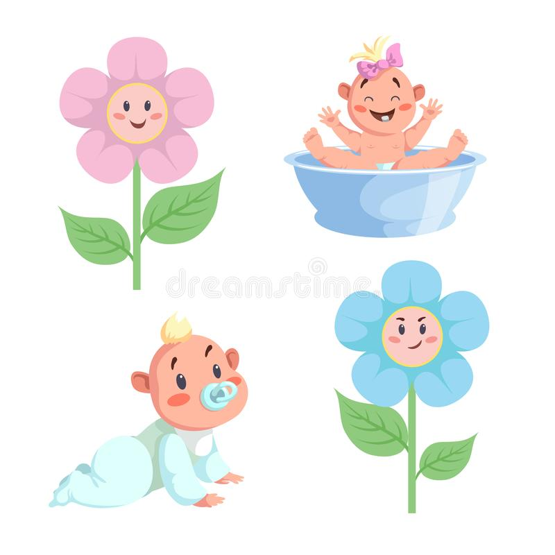Cartoon trendy design babies sticker icons. Boy and girls faces flowers, washing baby in basin and crawl baby. EPS10 + JPEG preview vector illustration