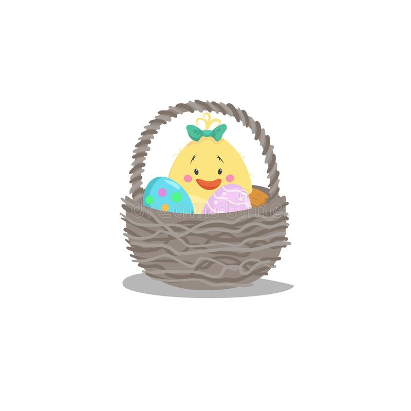 Cartoon trendy design basket with easter colorful and painted eggs and newborn girl chick. Decorative vector illustration icon. vector illustration