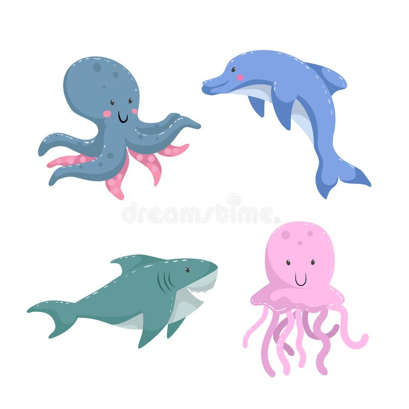 Cartoon trendy design different sea and ocean animals set. Octopus, dolphin, shark, jellyfish. vector illustration