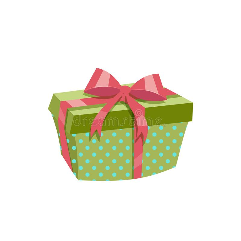Cartoon trendy design green polka dotted gift box with red ribbon and bow. Birthday and Christmas vector icon. EPS10 + JPEG preview vector illustration