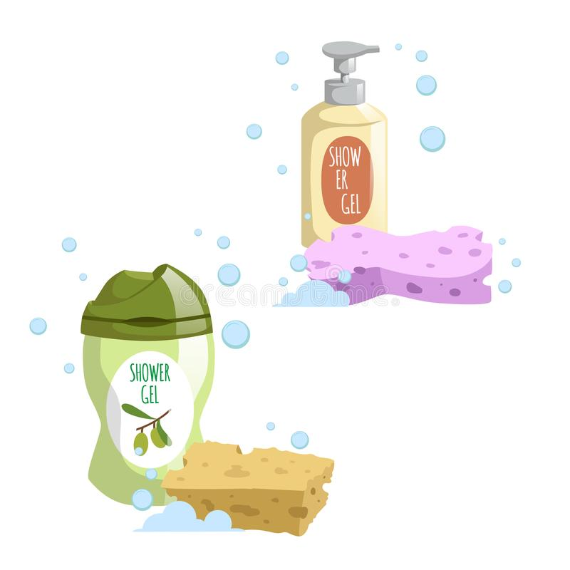 Cartoon trendy design green and yellow containers set colorful bath sponges. Shower gel. Hygiene and body care. Vector illustration stock illustration
