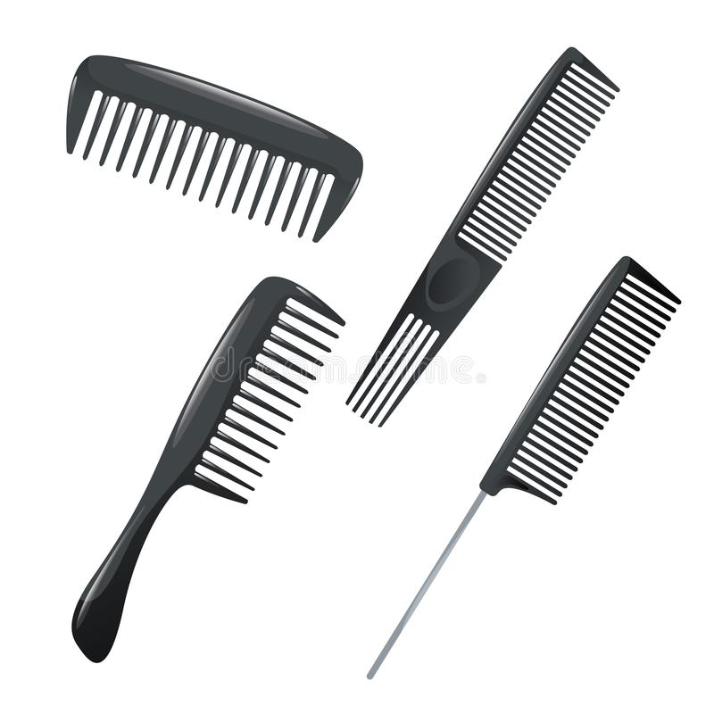 Cartoon trendy design haircare icon set. Plastic combs with different kind of teeth for styling. vector illustration