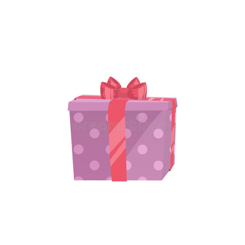 Cartoon trendy design icon of pink polka paper gift box with red ribbon. Christmas, birthday and party symbol. Vector simple gradient surprise illustration royalty free illustration