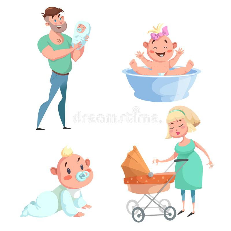 Cartoon trendy design mother and babies sticker icons set. Washing girl in basin and crawl baby, father holding newborn, mother wi stock illustration