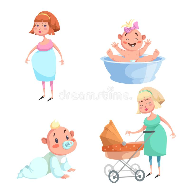Cartoon trendy design mother and babies sticker icons. Washing girl in basin and crawl baby, pregnant woman, mother with stroller. EPS10 + JPEG preview stock illustration