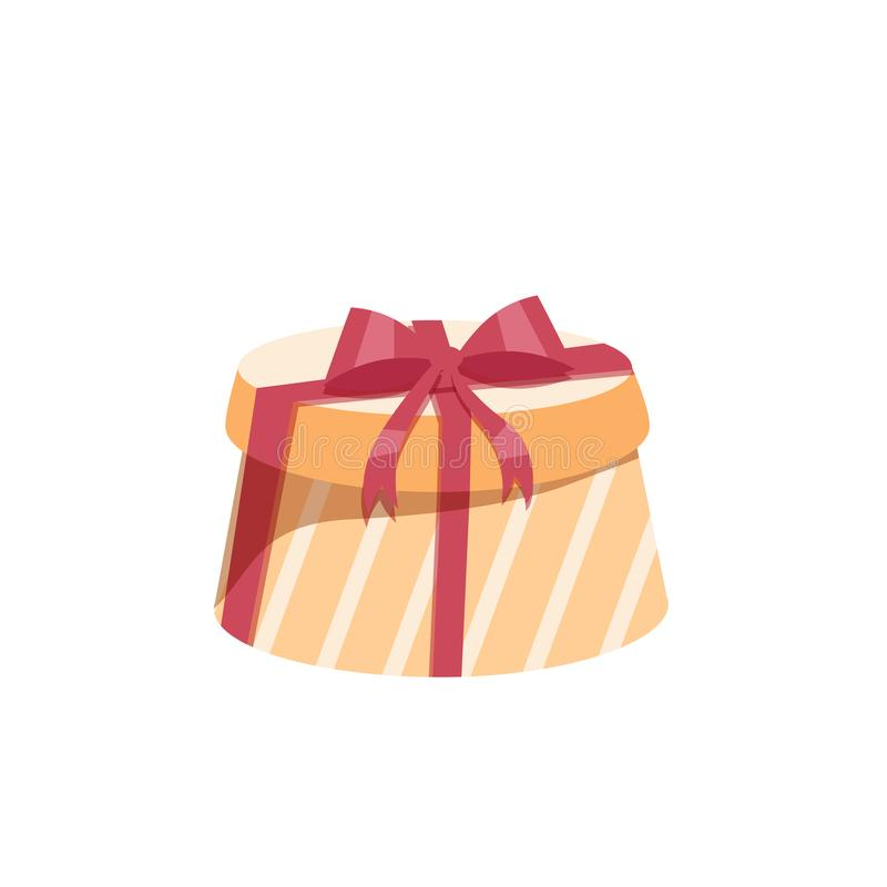 Cartoon trendy design round yellow gift box with red ribbon and bow. Birthday and Christmas vector icon. royalty free illustration