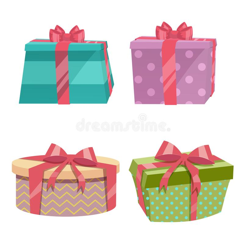Cartoon trendy design vintage round gift box set with different colors ribbons and bows. Birthday and Christmas vector icon. vector illustration