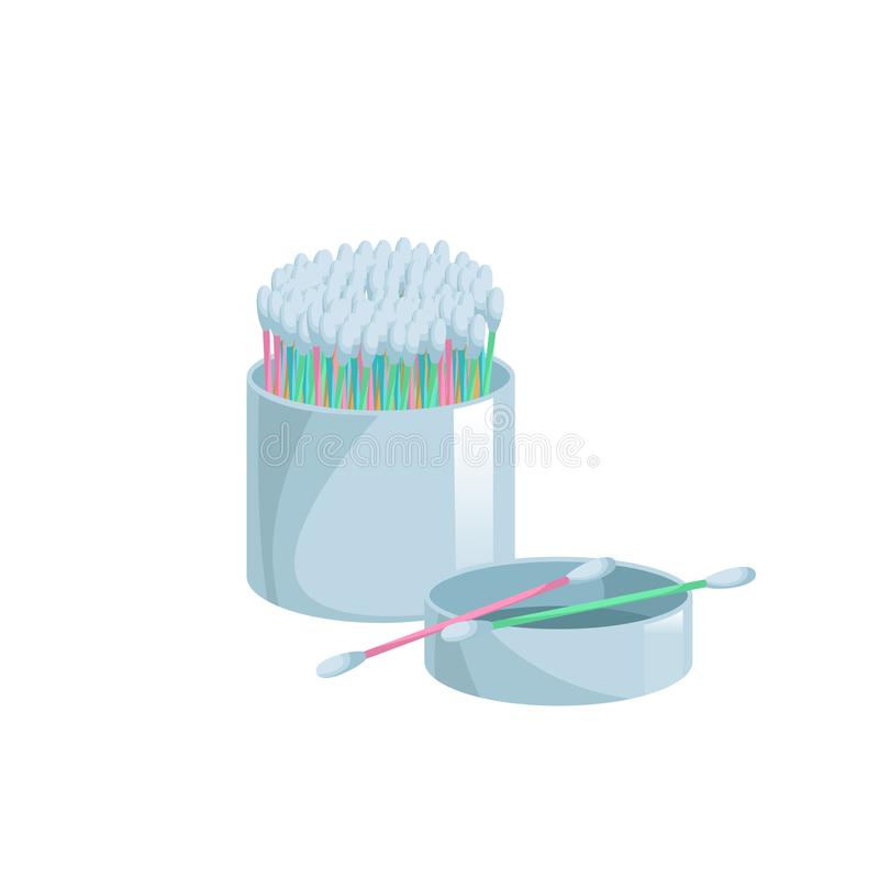 Cartoon trendy flat style cotton swabs in open container icon. Cartoon colorful ear and cosmetic buds. Vector hygiene sticks. Bath and makeup symbols stock illustration