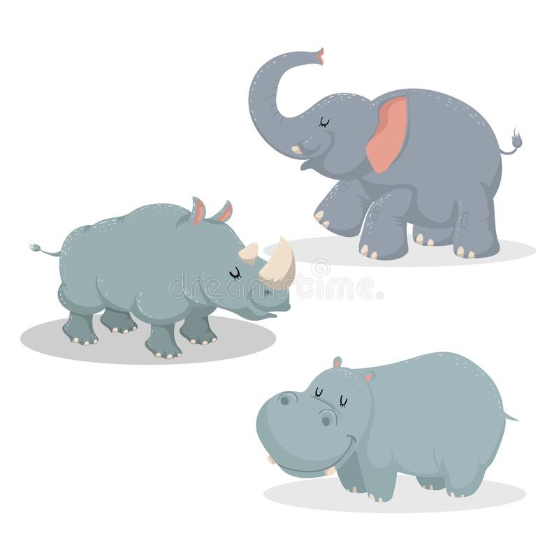 Cartoon trendy style big african animals set. Elephant, rhino and hippo. Closed eyes and cheerful mascots. vector illustration