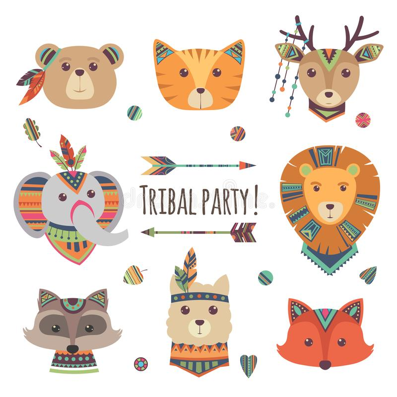 Cartoon tribal animal heads isolated on white background. Vector lama, bear, elephant, raccoon, fox, cat ethnic style royalty free illustration