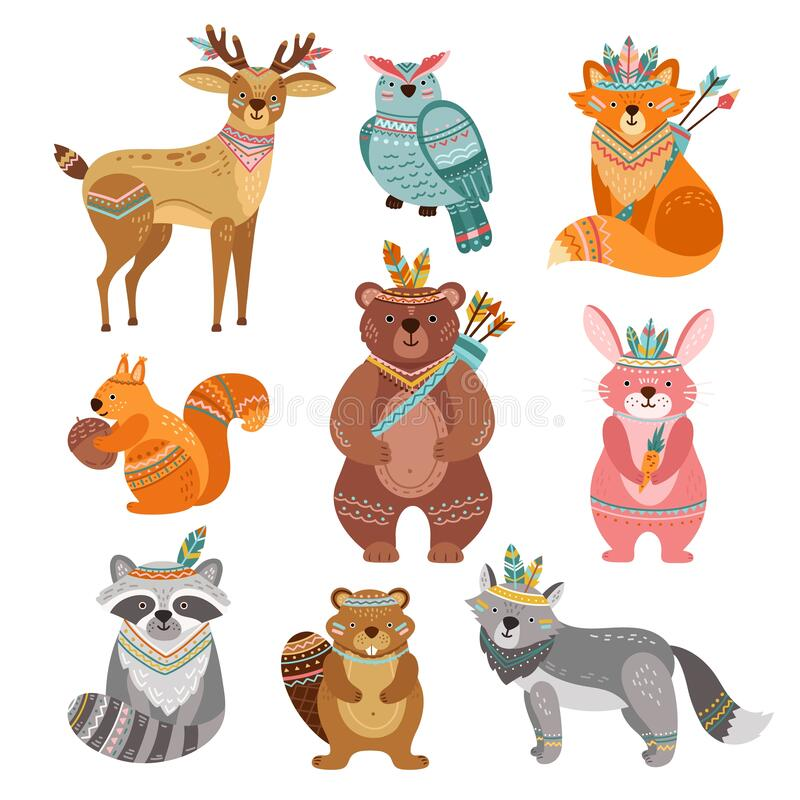 Free Cartoon Tribal Animals. Cute Woodland Illustration, Boho Fox Wolf Deer. Brave Forest Bear, Feather Arrow, Funny Wildlife Stock Photo - 196867120