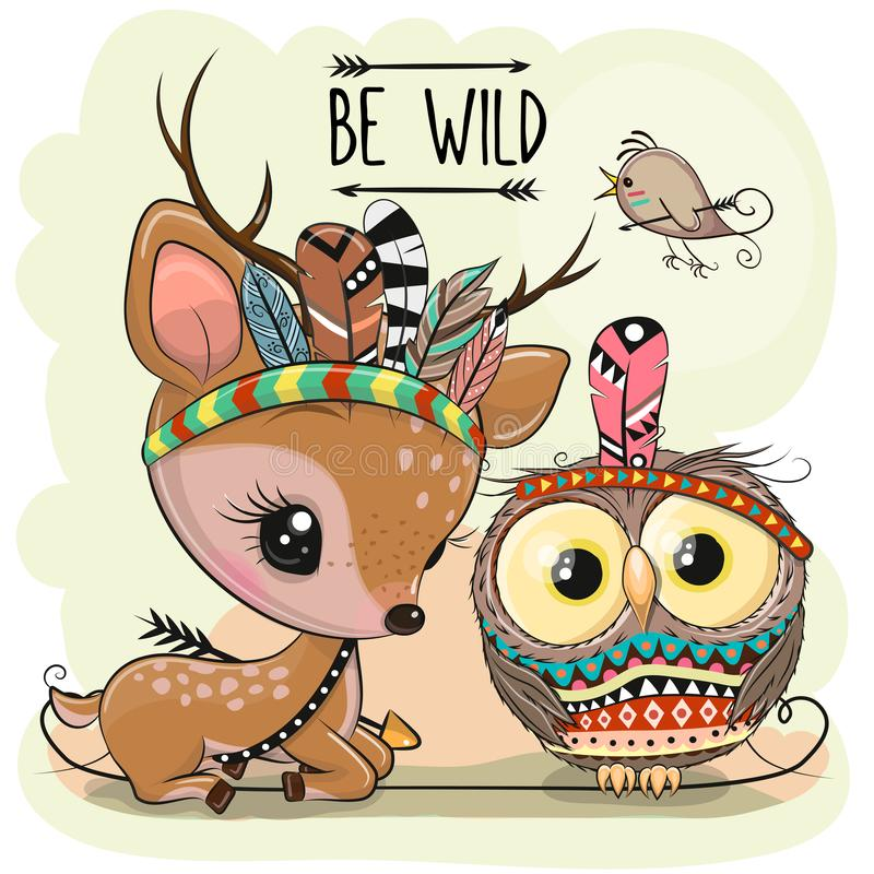 Free Cartoon Tribal Deer And Owl With Feathers Stock Image - 153475991