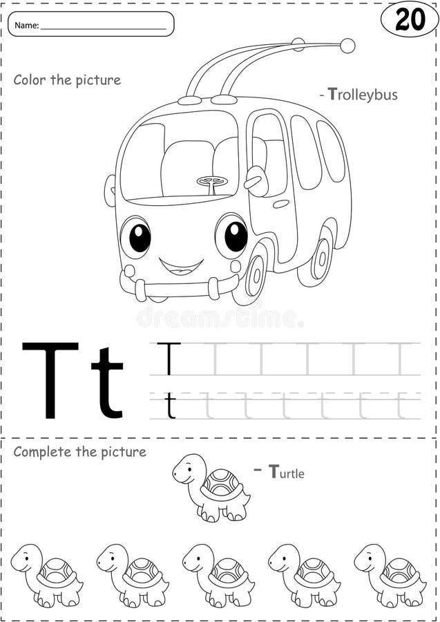 Download Cartoon Trolleybus And Turtle Alphabet Tracing Worksheet Writi Stock Vector